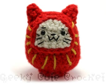 Daruma Neko Doll Plush Toy Amigurumi Cat