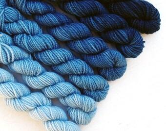 DENIM 240 yard mini-skein set, High Twist Sock, superwash, merino, fingering weight, sock yarn, gradient, ombre