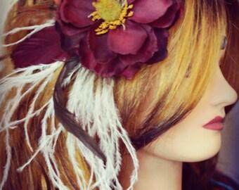 Feather Hair Flower - Snow Berry