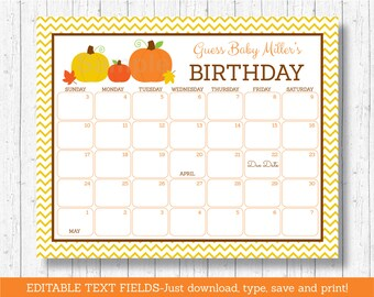 Pumpkin Baby Due Date Calendar / Pumpkin Baby Shower /  Birthday Predictions Calendar / Gender Neutral / INSTANT DOWNLOAD Editable PDF A105