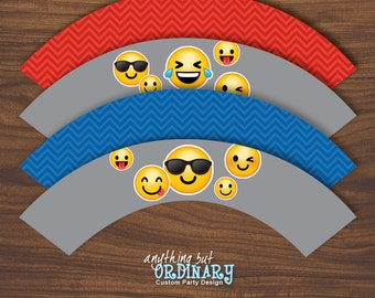 Boy's Emoji Birthday Cupcake Liners, Printable Emoji Party Baking Cup Labels, INSTANT DOWNLOAD, digital file