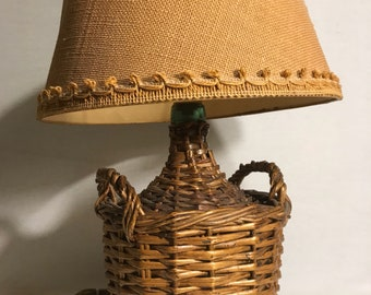 Wicker lampshade etsy table lamp dame jeanne viresa carboy 2l wicker lampshade vintage aloadofball Choice Image