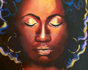 Ebony Lady Limited Edition A3 Print Of Original Oil Painting Realism Medusa .