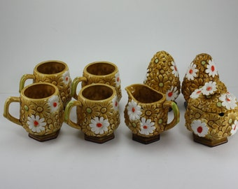 Vintage 70s Daisy Flower Fred Roberts Ceramic Cups/Mugs, Sugar, Creamer, Salt & Pepper Japan Mod Retro Kitchen Decor Coffee Set