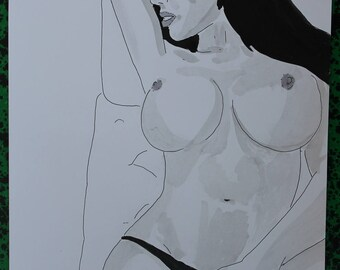 """drawing of nude female erotic """"Délassée"""""""