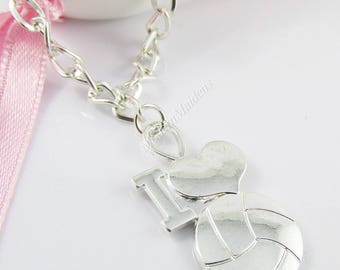 SP Netball I Love Netball Charm Pendant Necklace 70cm Curb Chain