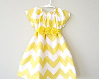 Size 3 months - Ready to Ship, Yellow Chevron Dress for Babies
