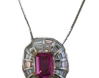 18k Pink Sapphire and Diamond Pendant Necklace.