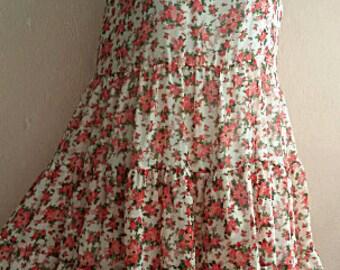 90s Floral Grunge Dress - Sleeveless Garden Dress - Chiffon