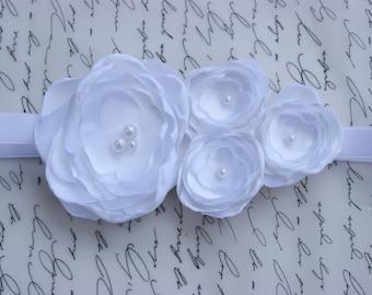White Clustered Flowers/ Baby Headband/ Newborn Headband/ Flower Girl Headband/ Wedding Hair