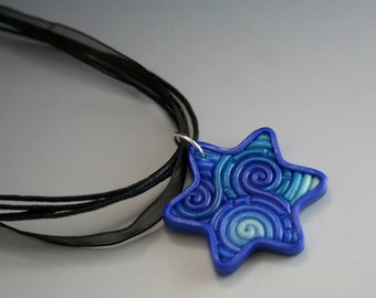 Star of David Pendant in Blue, Teal, White Fimo Filigree