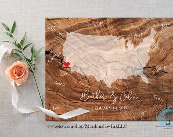 State Guest Book Map Wedding Map, Wedding Gift, Bridal Shower Gift, Destination Wedding Signs, Wood Guest Book, Rustic Guest Book Canvas Map