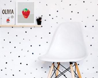Dots Wallpaper, Black and White Wallpaper, Kids Wallpaper, Monochrome, Wall sticker, Self-Adhesive Wallpaper, Kids Décor. Dots Wallpaper