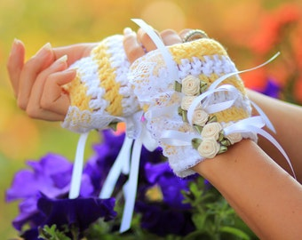 Fingerless Gloves in Lemon Meringue - Yellow and White Stripes - Tea Party