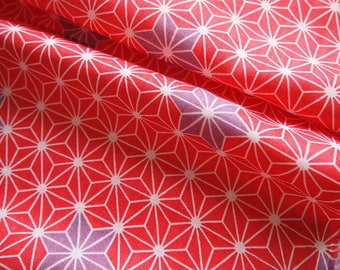 Japanese double gauze Asanoha soft red and purple color