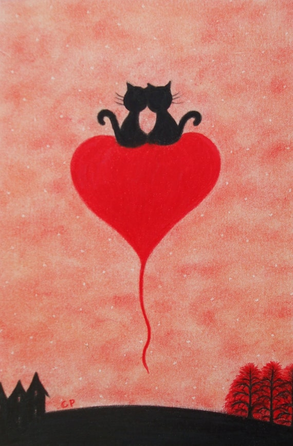 Cat Heart Picture Cat Wedding Gift Black Cats Heart Print
