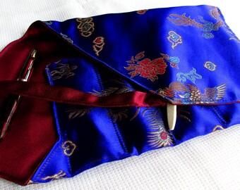 Brocade and Satin Five-Pen Wrap, Pen Roll, Pen Case