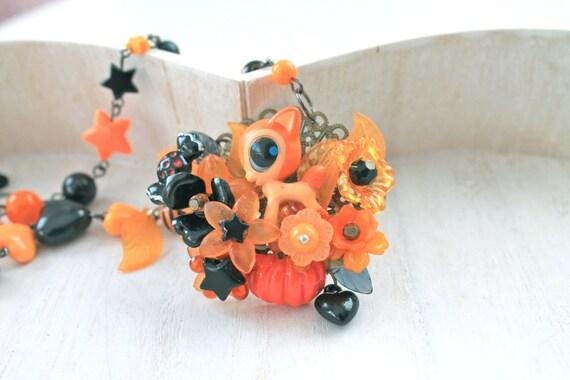 Kawaii Halloween necklace with little deer black orange