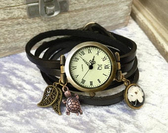 Customized leather watch, black leather, nature lover, turtle, leaves