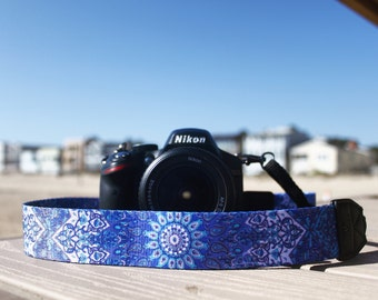 Camera Strap - Aum design strap for DSLR or SLR camera. Camera accessories. Canon camera strap. Nikon camera strap. Tapestry design