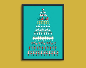 The 12 Days of Christmas Poster / Print / House Decoration
