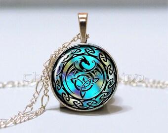 Celtic Knot Necklace Celtic Dragon Necklace Trinity Pendant Triquetra Viking Rune Pendant Silver Asatru Occult Jewelry
