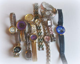 12 Vintage Working Lot Woman's Wrist Watches, Studio Vivani, Faded Glory Pearl,