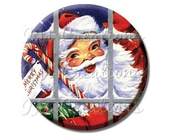 LIQUIDATION SALE! Vintage Santa Claus Window Pocket Mirror, Magnet, or Pin - 2.25""