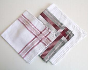 3 set large vintage handkerchiefs, mens handkerchiefs, plaid mens hankies, father day, cotton handkerchief, pocket square, suit accessories