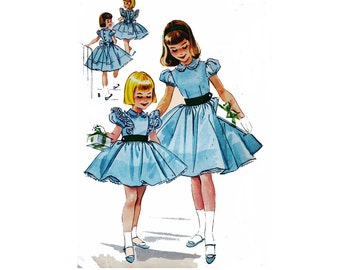 """1950's McCall's 4541 Girl's Party, Church, or Day Dress Size 6    Chest 24""""/ 61cm    Vintage Sewing Pattern"""