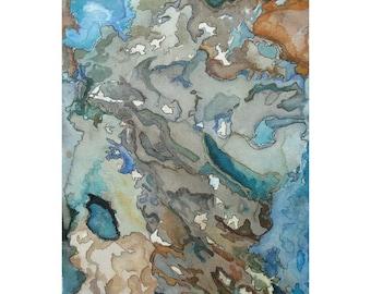 Watercolor art print, blue brown abstract landscape, modern wall art, topography inspired, San Borondon