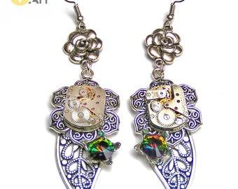 Steampunk Park Steampunk earrings Steampunk jewerly Wedding earrings Clockwork earrings  Filigree earrings Watchparts  earrings