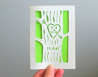 wedding card, papercut, personalized card, wood anniversary, anniversary card, paper anniversary, 1 year anniversary, 5 year anniversary