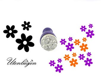 Stamp mini, blossoms, flower, rubber stamp Ø 11 mm