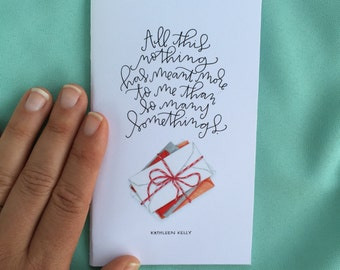 all this nothing hand sewn mini notebook // you've got mail quote // gift for her// gift for fall// kathleen kelly