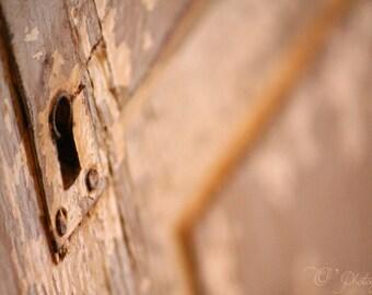 NewShopSale Welcome to my secret garden, Old door photography print - vintage door fine art wall decoration rust brown bronze bathroom home