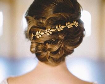 ATHENA, Bridal Hair Accessories, Bridal Hair Piece, Wedding Headband, Gold Leaf Crown, Wedding Hair Piece, Boho wedding, Under 60, hair vine