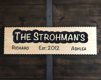Custom Routed Wood Family Name Sign, Personalized Wedding Gift, Last Name Sign, Family Established Sign, Wedding Established Sign