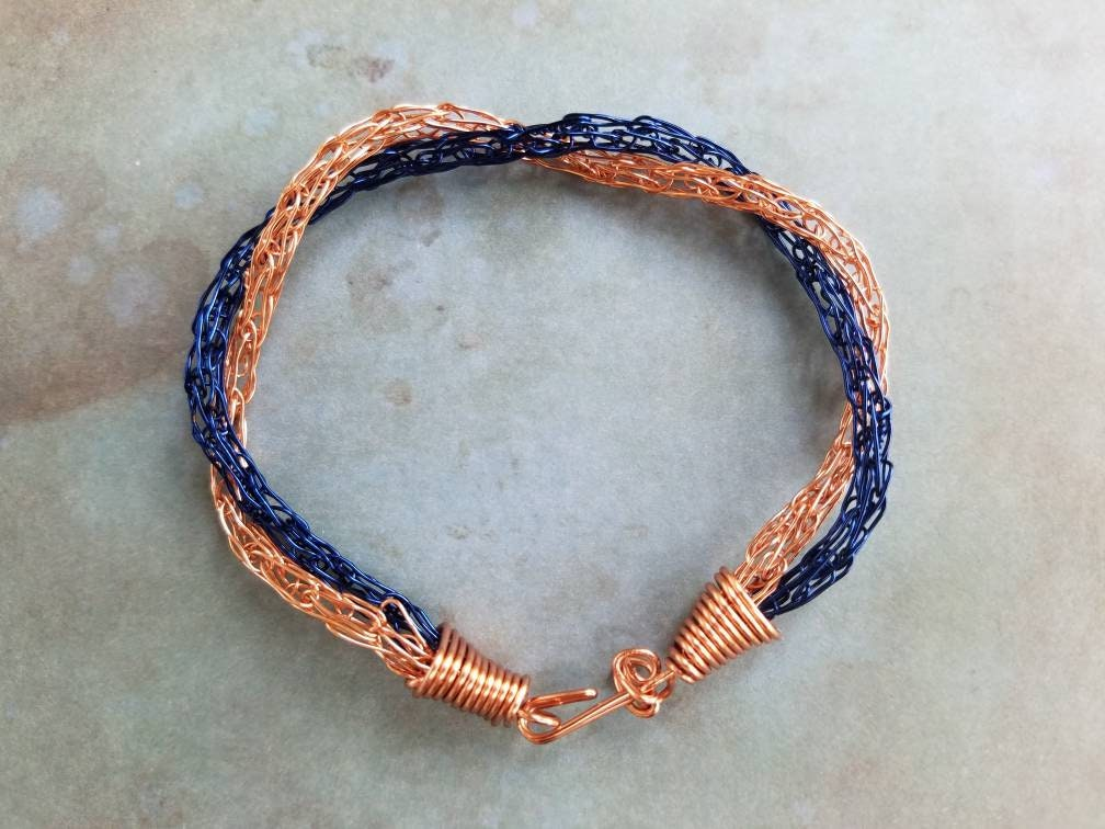 Blue & Copper Viking Knit Twisted Wire Bracelet Handcrafted