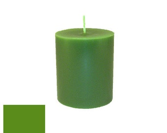3 x 3.5 Green Classic Hand-poured Unscented Pillar Candles Solid Color