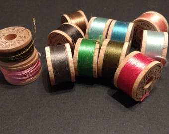 12 Vintage Spools Pure Silk Button & Buttonhole Twist Thread Size D Rainbow of Colors/ Small Wooden 10 Yard Spools / Vintage Sewing Supplies