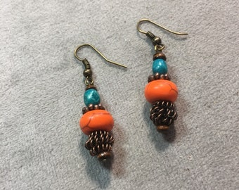 Copper turquoise and orange dangle drop earrings.