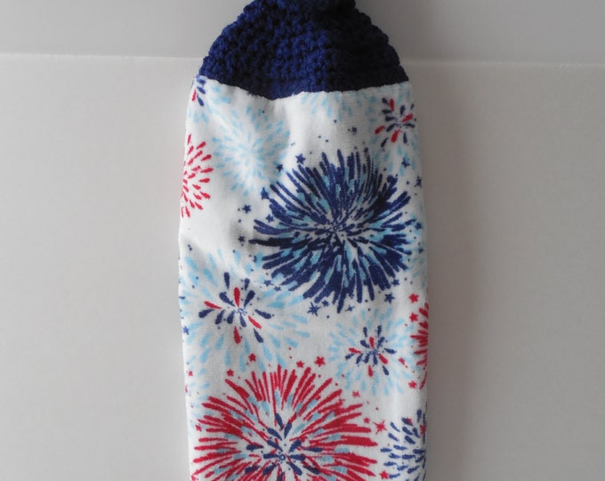Kitchen Towel - Crochet Top - Fireworks - Red White and Blue - Patriotic - Hanging Towel - Handmade Crochet - Ready to Ship