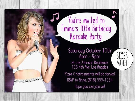 Items similar to Girls Birthday Party Invitation Karaoke Theme
