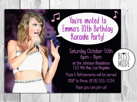 Items similar to girls birthday party invitation karaoke theme items similar to girls birthday party invitation karaoke theme taylor swift themed printable or email invitation diy on etsy filmwisefo