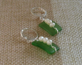 Green Tumbled Glass Wire Wrapped earrings with Fresh Water Pearls