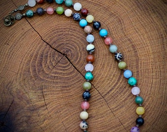 Multi Gemstone Necklace with Peace Sign Closure