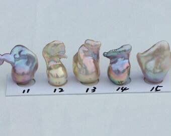 Rainbow Color Fireball Pearl,Natural Metallic Color Flameball Pearl, Large Irregular Nucleated Pearl, Baroque Nuclear Pearl