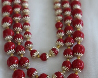 Japan Multi Strand Red Beaded Necklace