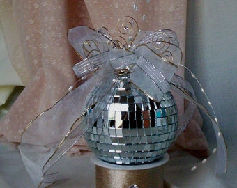 Mirror Disco Ball Cake Topper Unique Bridal Wedding Reception Decor party Accessories Birthday Decoration Glamour Event New Years cake